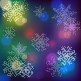 Schneeflocken auf dunklem hintergrund
