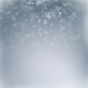 Schneeflocken fliegen, karte oder banner mit schneeelementen, flocken konfetti streuen. winter-symbole für kaltes wetter.