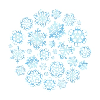 Schneeflocken in der kreisform, getrennt auf weiß