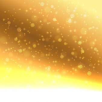 Schneeflocken in goldenem hintergrund