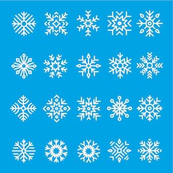 Schneeflocken linie icon-set