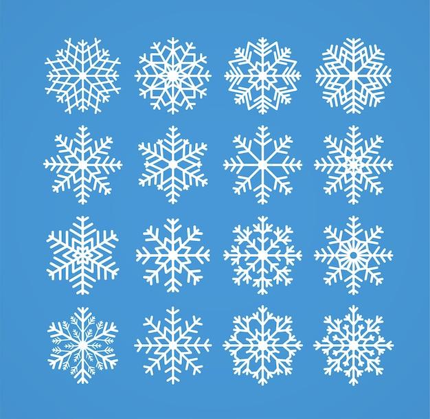 Schneeflocken winterweihnachten frostige schneegrenzenikonen auf blauem hintergrundillustration Premium Vektoren