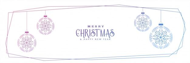 Schneeflockenkugellinie fahnendesign der frohen weihnachten