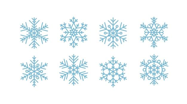 Schneeflockensammlung. illustration im flachen stil