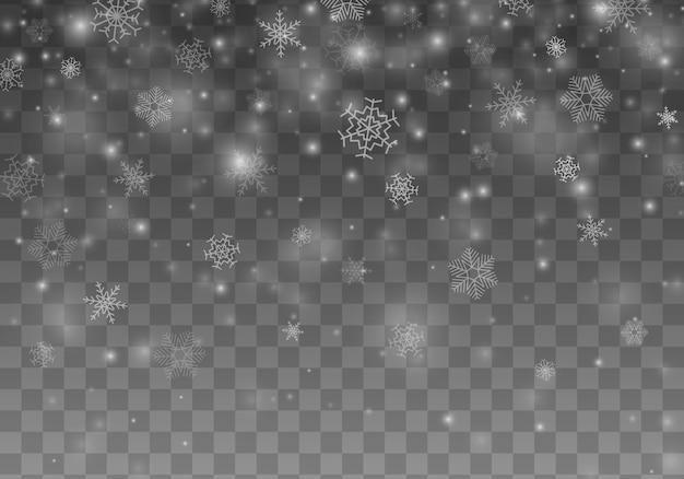 Schneeflockeweihnachtsdekorationeffekt. schneefall.