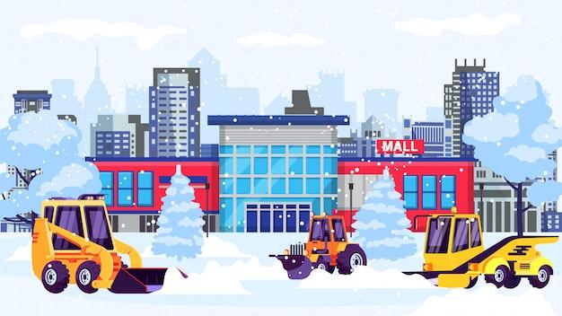 Schneefräsenmaschinen säubern straße vom schnee am einkaufszentrumgebäude