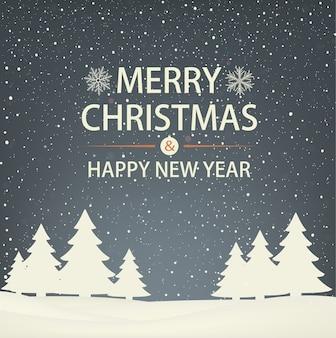 Schneegebundene weihnachts- und neujahrsgrußkarte mit weihnachtsbäumen. abendliche winterlandschaft.