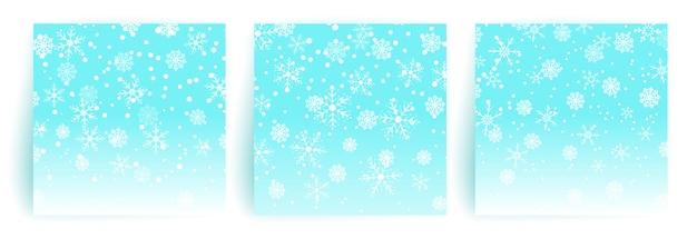 Schneehintergrund. satz weihnachtsgrußkartenschablone für flieger, fahne, einladung, glückwunsch. weihnachtshintergrund mit schneeflocken. illustration.