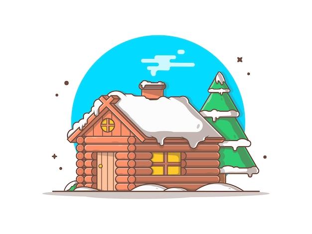 Schneekabine in der wintersaisonillustration
