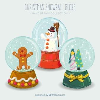 Schneekugel hintergrund in aquarell-effekt mit ornamenten