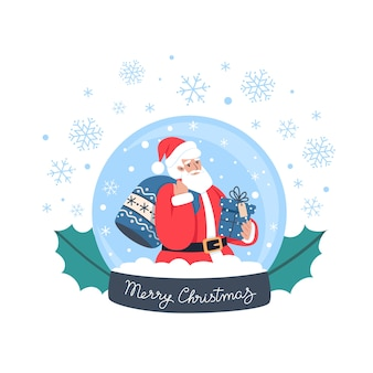Schneekugel mit weihnachtsmann, geschenken und schneeflocken