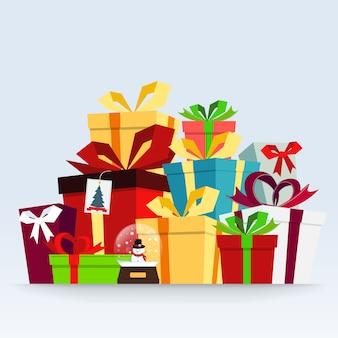 Schneekugel und geschenkboxen vektor