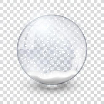 Schneekugelball realistisches neujahrs-chrismas-objekt lokalisiert auf transparentem hintergrund mit schatten,