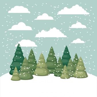 Schneelandschaft mit pinienwaldszene