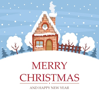 Schneelandschaftsentwurf mit haus für frohe weihnachtskarte
