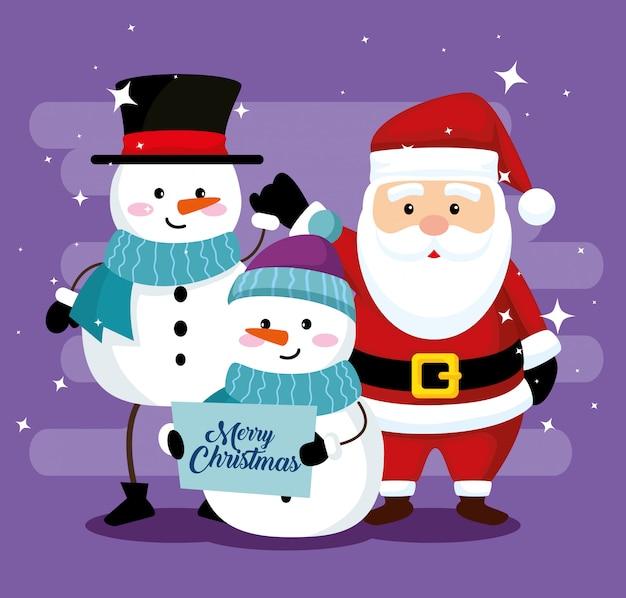 Schneemänner mit hut und schal und weihnachtsmann