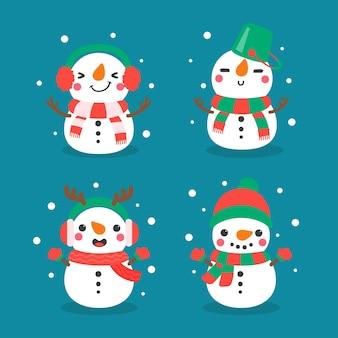 Schneemann-cartoon-vektor. schneebälle zu schneemann geformt. mit winterpullovern zu weihnachten dekorieren.