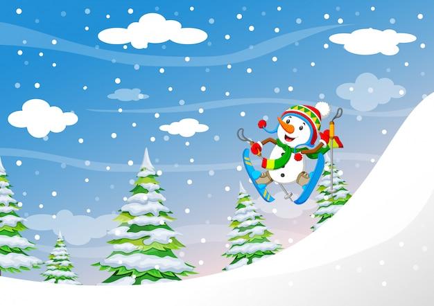 Schneemann, der abwärts im hochgebirge im frischen pulverschnee ski fährt