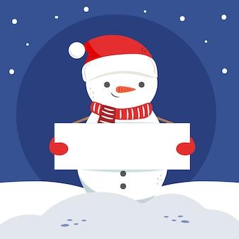 Schneemann, der eine leere fahne für weihnachten hält