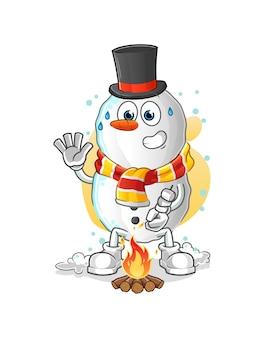 Schneemann, der marshmallows-karikaturmaskottchen röstet