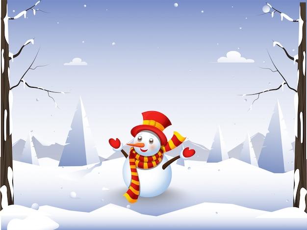 Schneemann, der woolen kleidung mit dem genießen der wintersaison auf schneebedeckter naturlandschaft trägt.