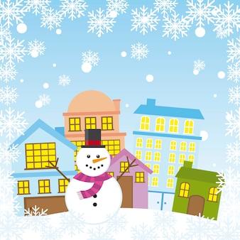 Schneemann in der Stadt mit Schneeflocken Weihnachtsvektor