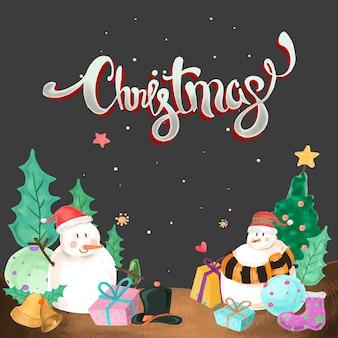 Schneemann in der weihnachtsnacht