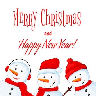Schneemann in schal, stiefeln, handschuhen, mütze und krawatte. postkarte für das neue jahr und weihnachten.