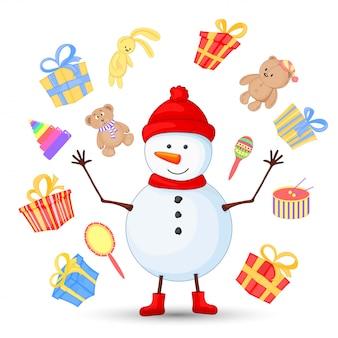 Schneemann in schal, stiefeln, handschuhen und einer mütze. postkarte für das neue jahr und weihnachten. isolierte objekte auf weißem hintergrund. nette karikaturgeschenke zum geburtstag. teddybär