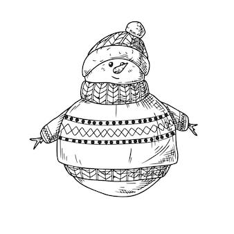 Schneemann isoliert auf weißem hintergrund. skizze, handgezeichnete illustration