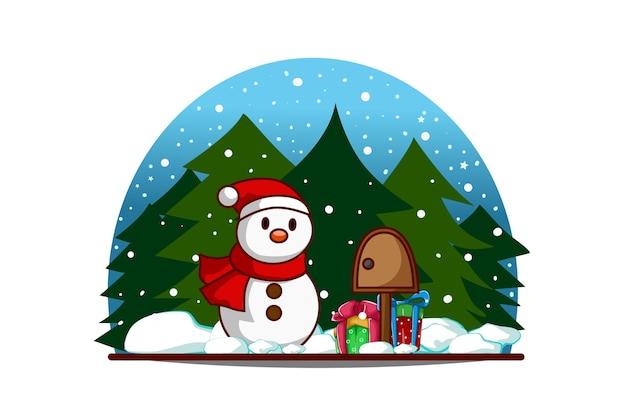 Schneemann mit paketbox und geschenken am heiligabend