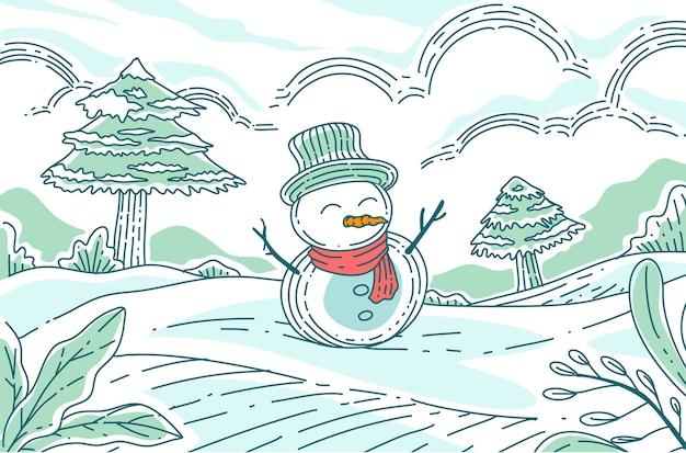 Schneemann mit süßem schal und mütze