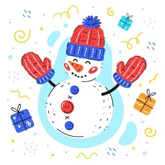 Schneemann mit woolen strickmütze und handschuhen übergeben gezogene illustration. bunter schneemann mit geschenken. weihnachten, neujahr grußkarte