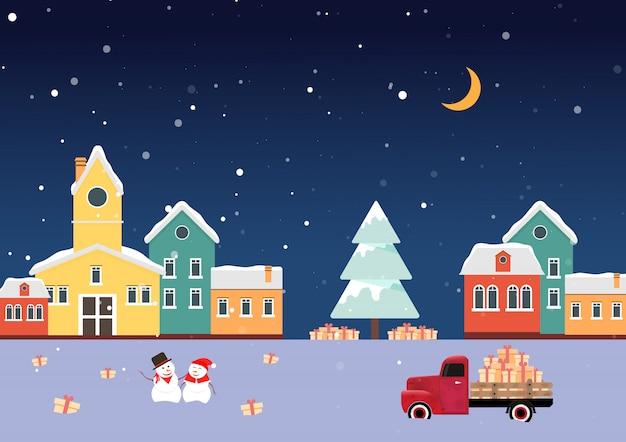 Schneemann schnee weiblich. dorf mit weihnachtsbaum weihnachten weihnachtsmann mit rehen. viele