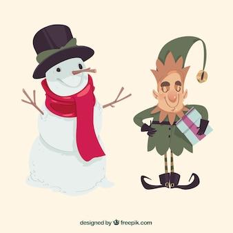 Schneemann und kobold