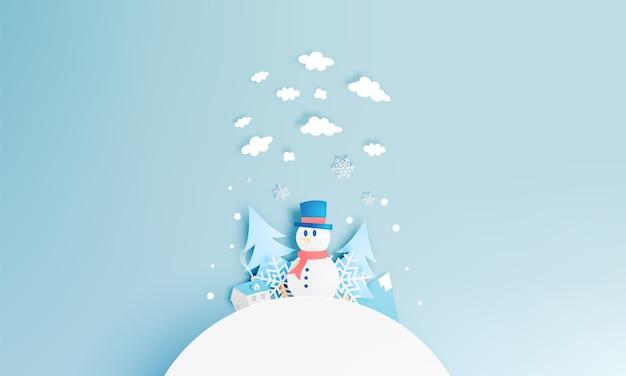 Schneemann- und winterlandschaft mit papierkunstart und pastellfarbschemavektor illustrat