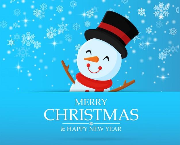Schneemann zeichentrickfiguren feiern in weihnachten.