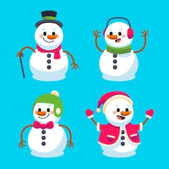Schneemanncharaktersammlung im flachen design