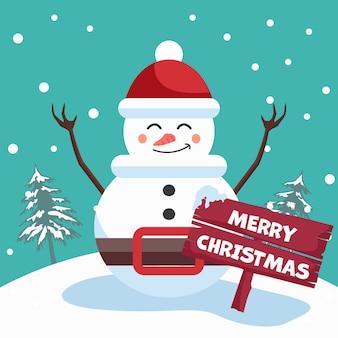 Schneemannentwurf mit frohen weihnachtsplakat