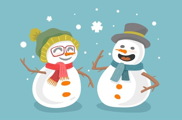 Schneemannpaar isoliert auf blau