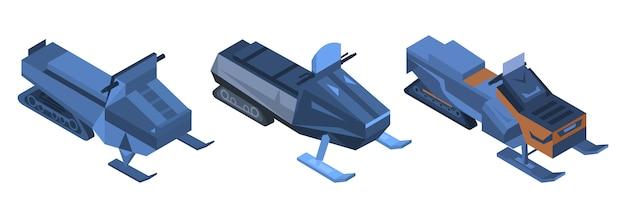Schneemobil-icon-set. isometrischer satz schneemobilvektorikonen für das webdesign lokalisiert auf weißem hintergrund