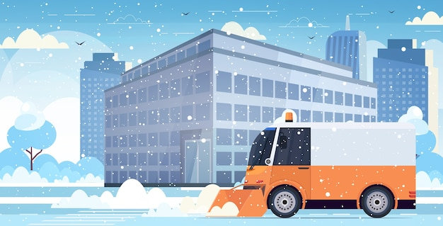 Schneepflug lkw reinigung stadtstraße nach schneefall winter schneeräumung