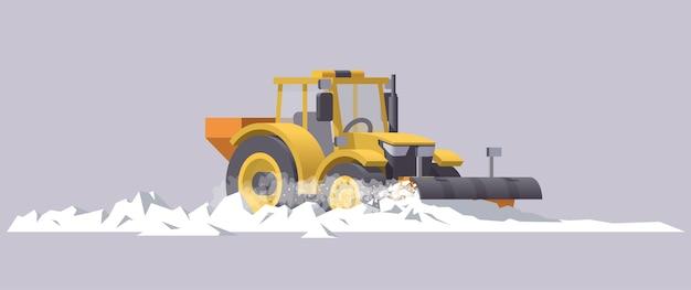 Schneeräumtraktor. schneeräumung. salzstreuer. illustration