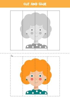 Schneiden sie aus und fügen sie bild mit niedlichen glücklichen mädchen mit ingwerhaar ein. bildungsrätsel für kinder im vorschulalter.