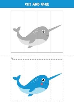 Schneiden sie das bild des niedlichen kawaii-narwals aus und fügen sie es nach teilen ein. pädagogisches logisches spiel für kinder. puzzle für kinder im vorschulalter.