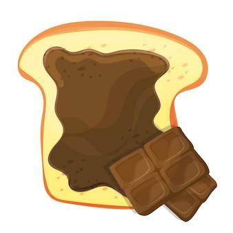 Schneiden sie den vektor von brot oder toast mit einer isolierten illustration aus brauner süßer schokolade. lecker eine scheibe brot verteilen
