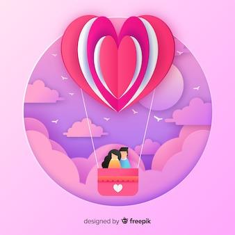 Schneiden sie heißluftballon-valentinstaghintergrund heraus