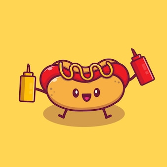 Schneiden sie hot dog holding senf und sauce cartoon icon illustration. fast-food-cartoon-symbol-konzept isoliert. flacher cartoon-stil