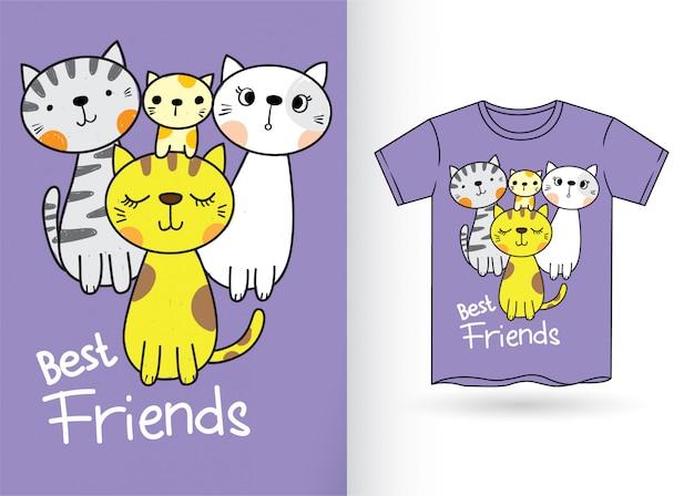 Schneiden sie katzen für t-shirt