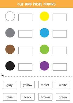 Schneiden sie namen von farben aus und fügen sie sie ein. arbeitsblatt für kinder.